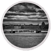 Stockholm In Black And White Round Beach Towel