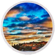Stockholm In Bold Colors Round Beach Towel