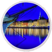 Stockholm Old City Blue Hour Serenity Round Beach Towel