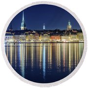 Stockholm Old City Magic Quartet Reflection In The Baltic Sea Round Beach Towel