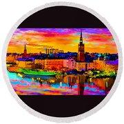 Stockholm Reflective Art Round Beach Towel