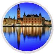 Stockholm Riddarholmen Blue Hour Reflection Round Beach Towel