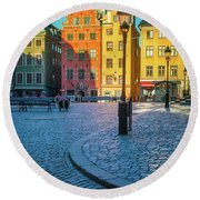 Stockholm Stortorget Square Round Beach Towel