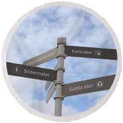 Stockholm Street Signs Round Beach Towel