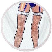 Stocking Legs Pop Art Round Beach Towel