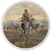 Stolen Horses Round Beach Towel by Charles Marion Russell