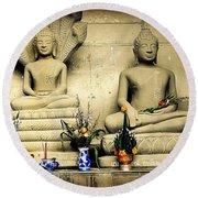 Stone And Flowers - Buddhist Shrine Round Beach Towel