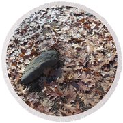 Stone And Leaves Round Beach Towel