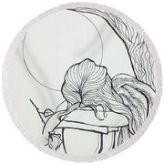 Stone Angel Round Beach Towel by Loretta Nash