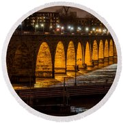 Stone Arch Bridge Night Shot Round Beach Towel