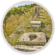 Stone Artifacts Of Ancient Town Of Asseria  Round Beach Towel