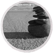 Stone Balance On The Beach In Monochrome Round Beach Towel