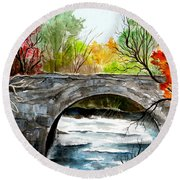 Stone Bridge In Maine  Round Beach Towel