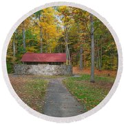 Stone Building In The Park Round Beach Towel