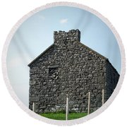 Stone Building Maam Ireland Round Beach Towel