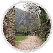 Stone Building Wall And Fence Round Beach Towel