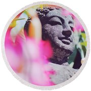 Stone Carved Statue Of Buddha Surrounded With Colorful Flowers Bali, Indonesia Round Beach Towel