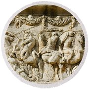 Stone Carving On Mausoleum Of The Julii Round Beach Towel