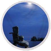 Stone Figure In Moonlight Round Beach Towel