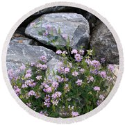 Stone Flowers Pink Round Beach Towel