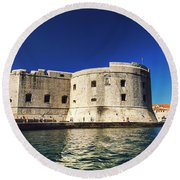 Stone Fortress In Dubrvnik King's Landing Round Beach Towel