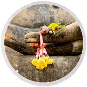 Stone Hand Of Buddha Round Beach Towel by Adrian Evans