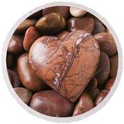 Stone Heart Round Beach Towel by Garry Gay