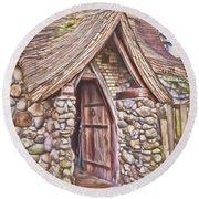 Stone House In Skagit County Round Beach Towel