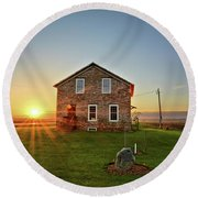 Stone House Sunrise Round Beach Towel