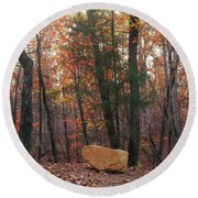 Stone Leaves And Trees Round Beach Towel