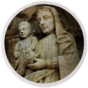 Stone Madonna And Child Round Beach Towel