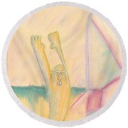 Evo Stone Man Emotes Round Beach Towel