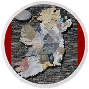Stone Map Of Ireland Round Beach Towel