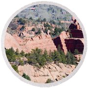 Stone Quarry In Red Rock Canyon Open Space Park Round Beach Towel