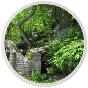 Stone Stairway Along The Wissahickon Creek Round Beach Towel