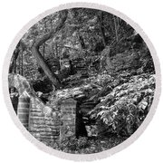Stone Stairway Along The Wissahickon Creek In Black And White Round Beach Towel