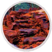 Stone Steps In Autumn Round Beach Towel