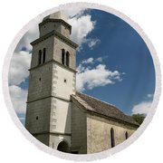 Stone Tile Roof Of The Church Of The Holy Cross In Tomaj Parish  Round Beach Towel