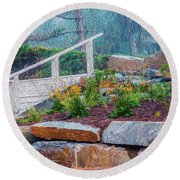 Stone Wall And Stairs Round Beach Towel