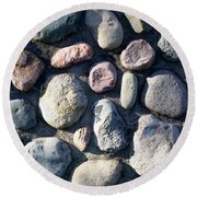 Stone Wall At Gallup Park Round Beach Towel