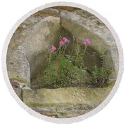 Stone Wall Determination Round Beach Towel