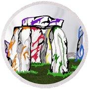Stonehenge Chakras Round Beach Towel