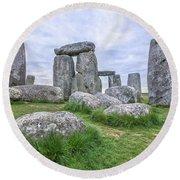 Stonehenge In England Round Beach Towel