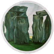 Stonehenge In Spring 2 Round Beach Towel