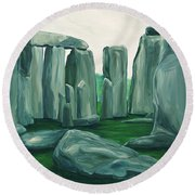 Stonehenge In Spring Round Beach Towel