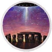 Stonehenge Ufo Round Beach Towel