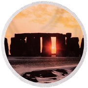 Stonehenge Winter Solstice Round Beach Towel