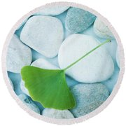 Stones And A Gingko Leaf Round Beach Towel