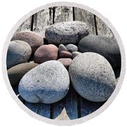 Stones And Old Wood 3  Round Beach Towel