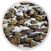 Stones And Snow Round Beach Towel